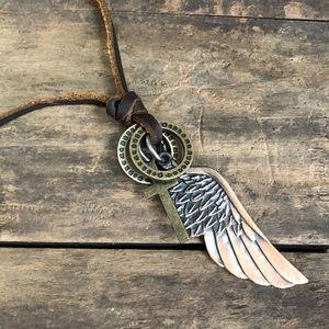 Boho leather wing necklace